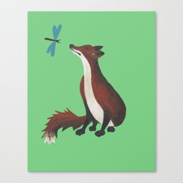 Fox and Dragonfly Canvas Print