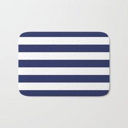 Navy Blue and White Stripes Bath Mat