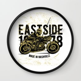 Moto Racer Raisin Hell On The East Side Wall Clock