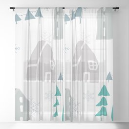 winter holiday houses Sheer Curtain