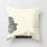 500 days of summer Throw Pillows featuring Tom's Favourite Spot —Angels Knoll Park, LA —(500) Days of Summer by Martin Lucas