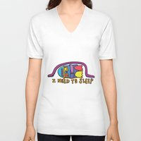 sleep V-neck T-shirts featuring sleep by PINT GRAPHICS