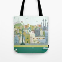 barcelona Tote Bags featuring Barcelona by LaPendeja