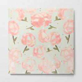 Syana's Cabbage Roses Metal Print