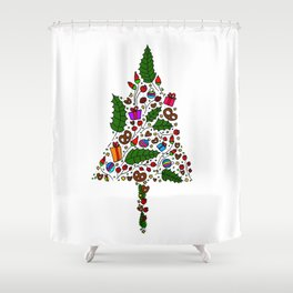 Hand drawn Christmas tree Shower Curtain