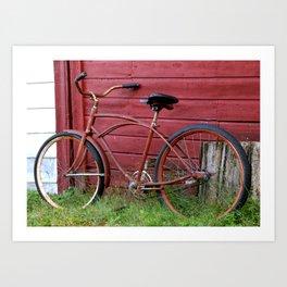 Red Bike on A Red Barn Wall Art Print