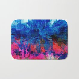 Bright Blues and Pinks Pattern Abstract Bath Mat