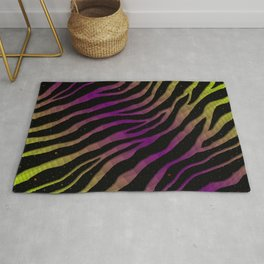 Ripped SpaceTime Stripes - Lime/Purple Rug