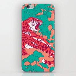 Scarlet tigers on lotus flower field. iPhone Skin