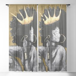Naturally Queen VI GOLD Sheer Curtain