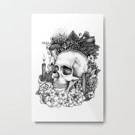 Black and white skull print Metal Print