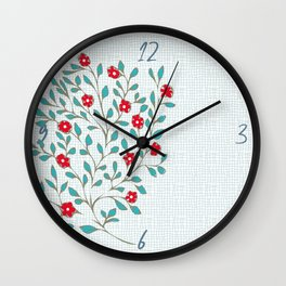Little Flowers in Red, Blue and Plaid Print - Indian Floral Collection Wall Clock