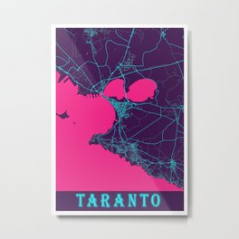Taranto Neon City Map, Taranto Minimalist City Map Art Print Metal Print