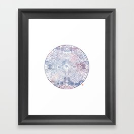 deer mandala (white) Framed Art Print