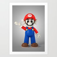 Skull Mario Art Print
