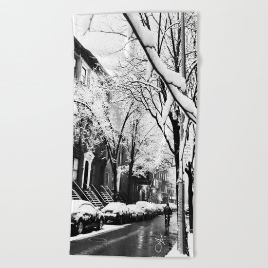 Black and White Photo of the Beautiful Brooklyn Heights covered in icy snow Beach Towel
