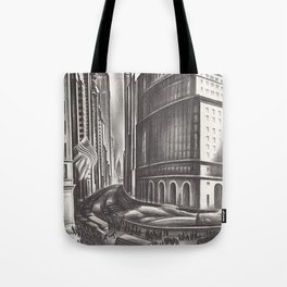 Looking Up Broadway, The Great White Way, New York City lithograph by Howard Cook Tote Bag