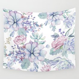 Pretty Blue Pink Succulents Garden Wall Tapestry