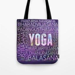 Yoga Asanas  Word Art  on Purple Tote Bag