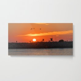 Seagulls Over the Wedge at Sunset Metal Print
