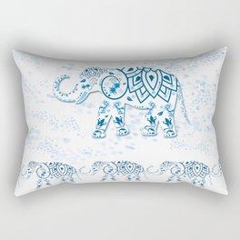 Blue Decorated Indian Elephant Rectangular Pillow