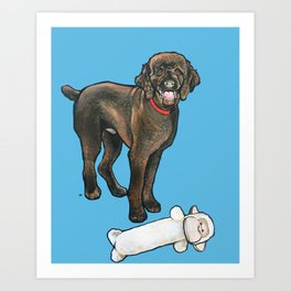Milo the Poodle with his Monkey Art Print