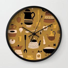 Kitschy Kitchen in Mustard Wall Clock