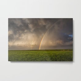 Mega Rainbow - Brilliant Rainbow Against Stormy Sky in Oklahoma Metal Print