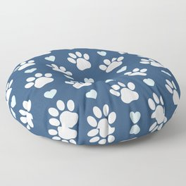 Dog Paws, Traces, Animal Paws, Hearts - Blue White Floor Pillow