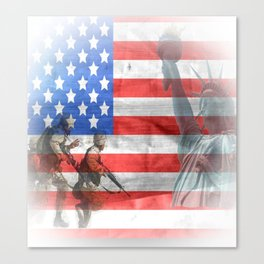 United States Flag and Statue of Liberty Canvas Print