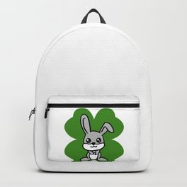 Bunny On 4 Leaf Clove - St. Patricks Day Animal Backpack