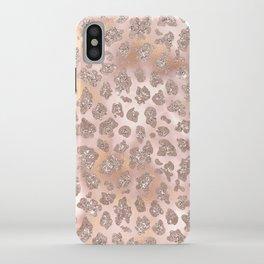 Rosegold Blush Leopard Glitter   iPhone Case