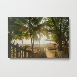 Sunset Behind Palm Trees Metal Print