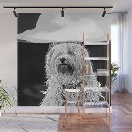 hairy havanese dog vector art black white Wall Mural
