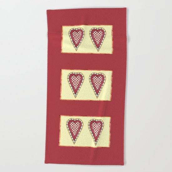My Checkered Heart Beach Towel