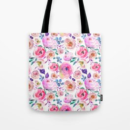 Lilac pink lavender hand painted watercolor roses floral Tote Bag