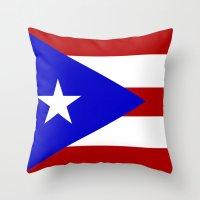 puerto rico Throw Pillows featuring puerto rico country flag star by tony tudor