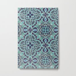 Chalkboard Floral Pattern in Teal & Navy Metal Print