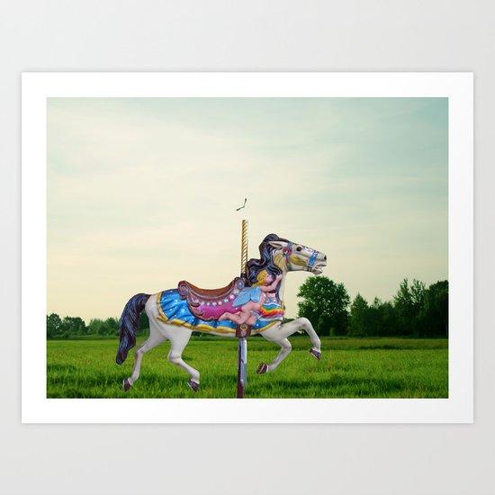 Wood horse Nature Art Print