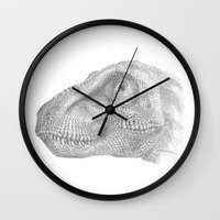 trex Wall Clocks featuring TRex by KC Gillies