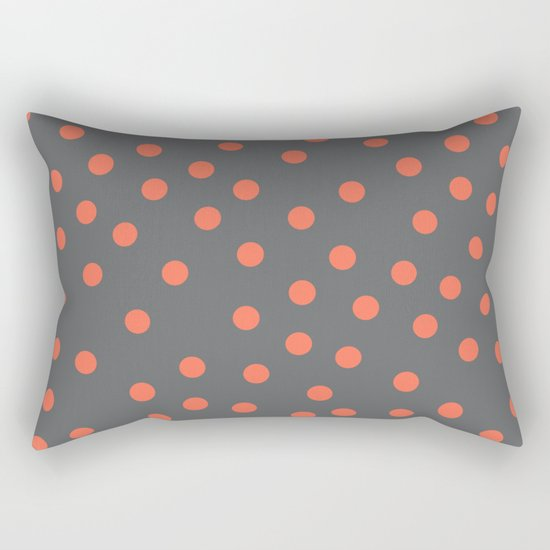 Simply Dots Deep Coral on Storm Gray Rectangular Pillow