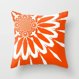 The Modern Flower Orange Throw Pillow