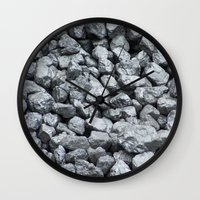 black and gold Wall Clocks featuring Black Gold by Marina Scheinost