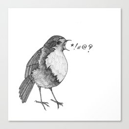 robin takes offense Canvas Print