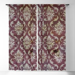 Vintage Antique Eggplant-Colored Wallpaper Pattern Blackout Curtain