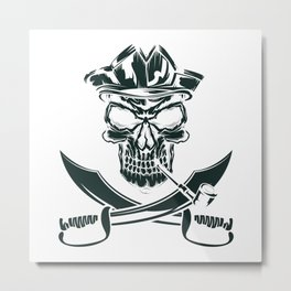 Pirate with Pipe Metal Print