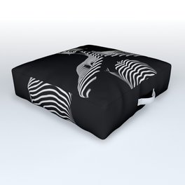 0027-DJA Zebra Standing Nude Woman Yoga Black White Abstract Curves Expressive Lines Slim Fit Girl Outdoor Floor Cushion