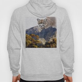 Mountain lion and mountains Hoody