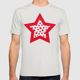 Red stars on white background illustration T-shirt