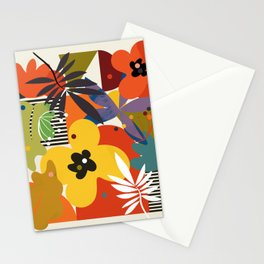 mid century minimal plant leaves Stationery Cards